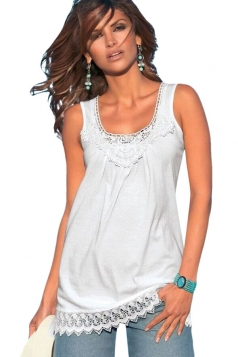 Womens Sexy Lace Trim Splicing Plain Tank Top White