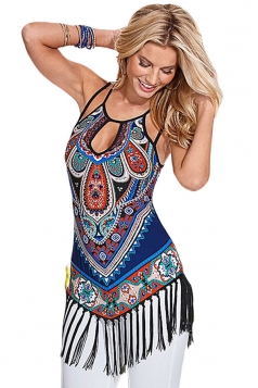Womens Sexy Exotic Printed Fringe Camisole Top Blue