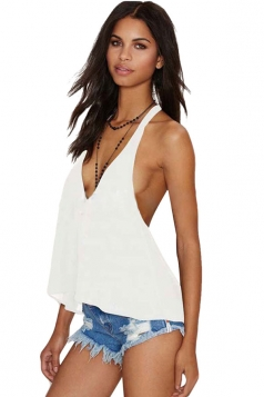 Womens Sexy Deep V Neck Backless Off Shoulder Top White
