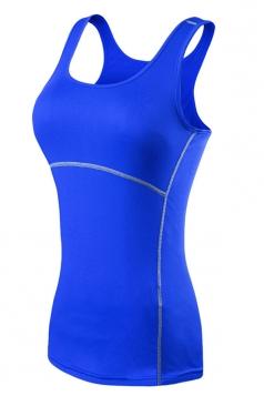 Womens Fashion Seamless Splicing Sports Tank Top Blue