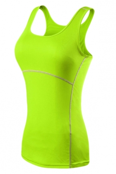 Womens Fashion Seamless Splicing Sports Tank Top Green
