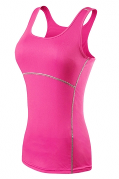 Womens Fashion Seamless Splicing Sports Tank Top Rose Red