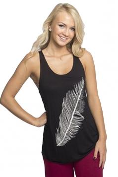 Womens Sexy U-neck Feather Printed Sleeveless Tank Top Black