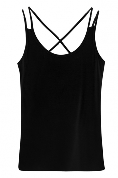 Womens Sexy Criss Cross Back Plain Camisole Top Black