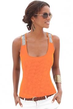 Womens Sexy Square Neck Sequined Sleeveless Tank Top Orange