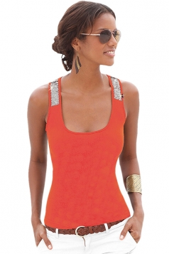 Womens Sexy Square Neck Sequined Sleeveless Tank Top Red