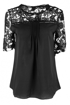 Womens Sexy Plain Lace Splicing Short Sleeve Blouse Black
