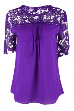 Womens Sexy Plain Lace Splicing Short Sleeve Blouse Purple
