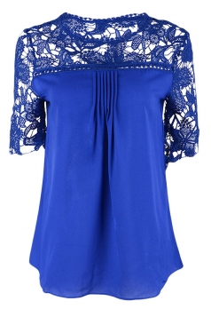 Womens Sexy Plain Lace Splicing Short Sleeve Blouse Sapphire Blue