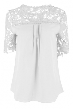 Womens Sexy Plain Lace Splicing Short Sleeve Blouse White
