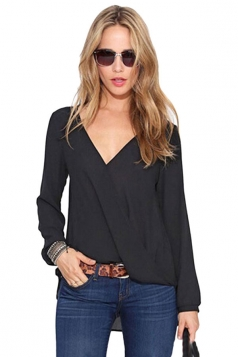 Womens Sexy V Neck Long Sleeve Plain Irregular Blouse Black