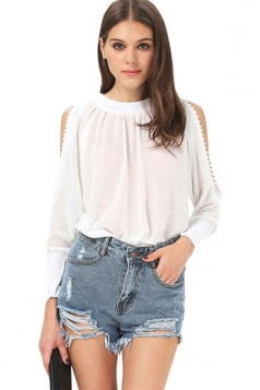 Womens Sexy Sheer Cold Shoulder Long Sleeve Blouse White