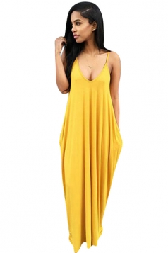 Womens Sexy Loose Spaghetti Straps Plain Maxi Dress Yellow