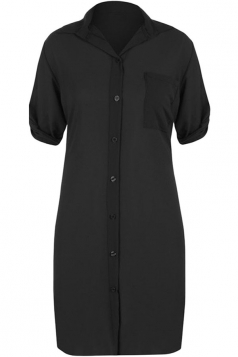 Womens Sexy Plain Side Slit Short Sleeve Shirt Dress Black