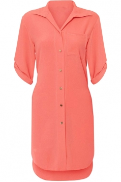 Womens Sexy Plain Side Slit Short Sleeve Shirt Dress Tangerine