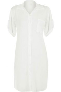 Womens Sexy Plain Side Slit Short Sleeve Shirt Dress White