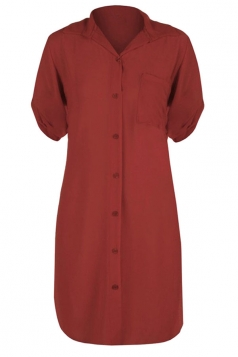 Womens Sexy Plain Side Slit Short Sleeve Shirt Dress Ruby