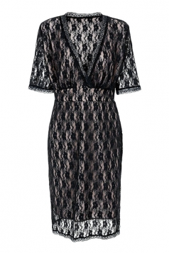 Womens Sexy Plus Size V Neck Hollow Out Lace Dress Black
