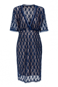 Womens Sexy Plus Size V Neck Hollow Out Lace Dress Navy Blue