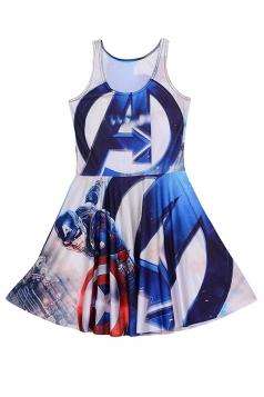 Womens Sexy America Captain Printed Sleeveless Skater Dress Navy Blue