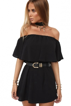 Womens Sexy Off Shoulder Choker Plain Mini Tube Dress Black