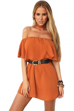 Womens Sexy Off Shoulder Choker Plain Mini Tube Dress Orange