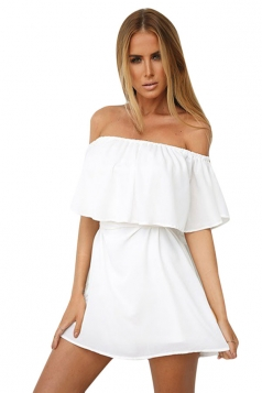 Womens Sexy Off Shoulder Choker Plain Mini Tube Dress White