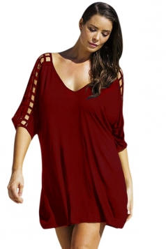 Womens Sexy Plus Size Hollow Out Half Sleeve Dress Ruby