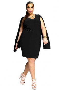 Womens Sexy Plus Size V Neck Open Sleeve Midi Dress Black