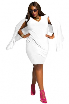 Womens Sexy Plus Size V Neck Open Sleeve Midi Dress White
