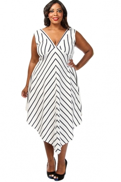 Womens Sexy Plus Size Striped Cascade Long Dress White