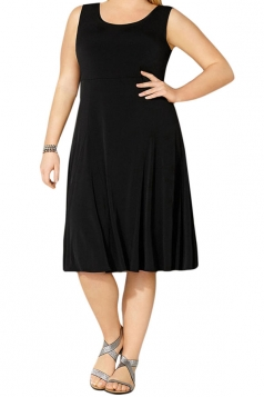 Womens Plus Size Crewneck Sleeveless Midi Dress Black
