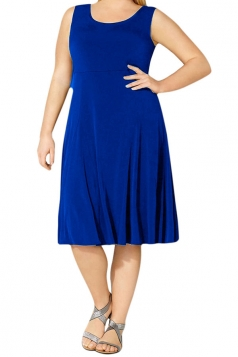 Womens Plus Size Crewneck Sleeveless Midi Dress Dark Sapphire Blue