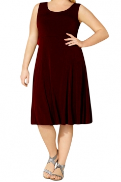 Womens Plus Size Crewneck Sleeveless Midi Dress Dark Ruby