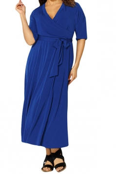 Womens Sexy V Neck Half Sleeve Plain Plus Size Dress Blue