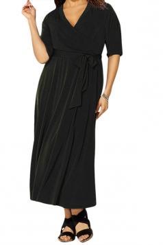 Womens Sexy V Neck Half Sleeve Plain Plus Size Dress Black