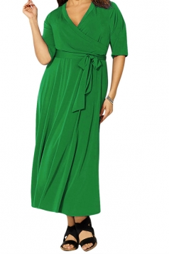 Womens Sexy V Neck Half Sleeve Plain Plus Size Dress Green