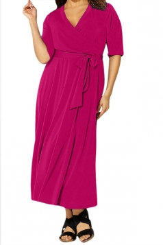Womens Sexy V Neck Half Sleeve Plain Plus Size Dress Rose Red