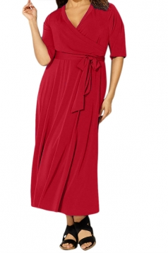 Womens Sexy V Neck Half Sleeve Plain Plus Size Dress Red