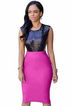 Womens Sexy Sequined Splicing Open Side Clubwear Dress Rose Red
