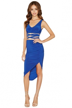Womens Sexy Lace-up Tank Top&Irregular Skirt Suit Blue