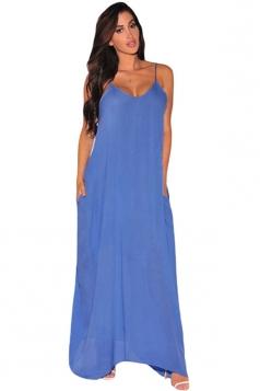 Womens Loose Fit Spaghetti Straps Maxi Dress Blue
