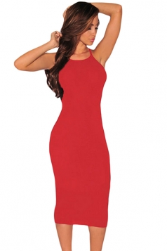 Womens Sexy Cut Out Sides Sleeveless Bodycon Dress Red