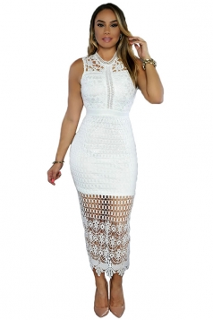 Womens Sexy Hollow Out Lace Sleeveless Clubwear Dress White