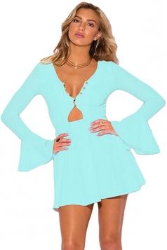 Womens Sexy Ruffle Long Bell Sleeve Cut Out Dress Light Blue