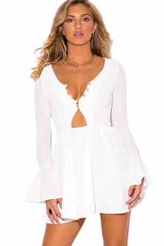 Womens Sexy Ruffle Long Bell Sleeve Cut Out Dress White
