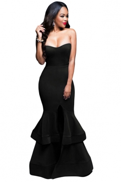 Womens Sexy Strapless Fishtail Maxi Evening Dress Black