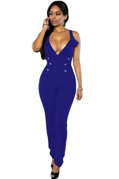 Womens Sexy V Neck Double-breasted Sleeveless Jumpsuit Sapphire Blue