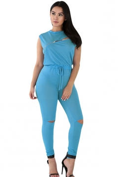 Womens Stylish Zip Line Front Cut Out Plain Jumpsuit Blue