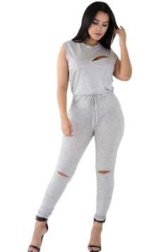 Womens Stylish Zip Line Front Cut Out Plain Jumpsuit Gray